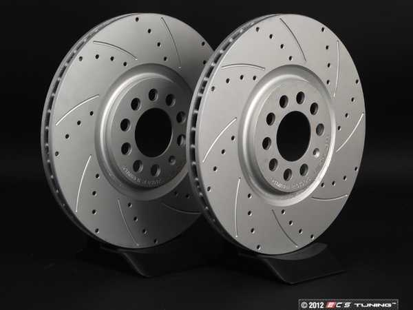 ES#2550134 - 8L0301XSGMT-RBKT - Cross Drilled And Slotted Rotors - Pair (312x25) - This pair of rotors features two RIGHT machined rotors, drivers side will appear backwards from the passengers side. - ECS -