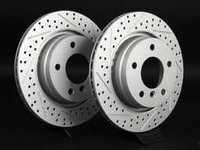 Rear Cross Drilled  Slotted Brake Rotors - Pair (294x19) 