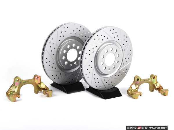 ES#412 - MK4TTBBKNPXS - Big Brake Kit - Cross Drilled  Slotted Rotors (312x25) - Upgrade to larger rotors for increased brake torque. Reuse your stock calipers, pads, and mounting hardware! - Assembled By ECS - Volkswagen