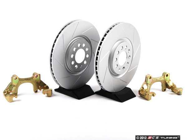 ES#411 - MK4TTBBKNP-S - Big Brake Kit - Slotted Rotors (312x25) - Upgrade to larger rotors for increased brake torque. Reuse your stock calipers, pads, and mounting hardware! - Assembled By ECS - Volkswagen
