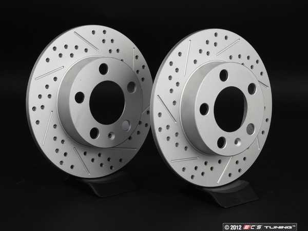 ES#2189758 - 1J0615601PKT6 - Rear Cross Drilled  Slotted Brake Rotors - Pair (232x9) - Featuring GEOMETreg; protective coating. - ECS - Audi Volkswagen
