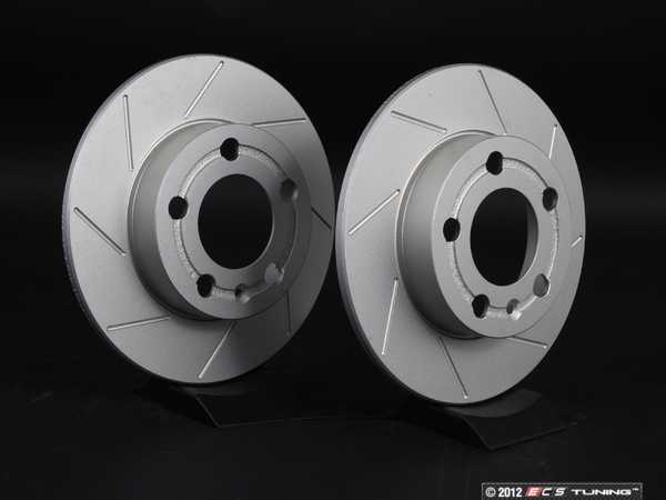 ES#2207708 - 1J0615601PKT7 - Rear Slotted Brake Rotors - Pair (232x9) - Featuring GEOMETreg; protective coating. - ECS - Audi Volkswagen