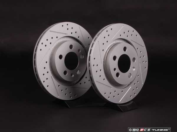 ES#2189812 - 1J0615301MKT5 - Front Cross Drilled  Slotted Brake Rotors - Pair (280x22) - Featuring GEOMETreg; protective coating. - ECS - Volkswagen