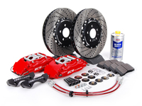 ES#262958 - ECS993500 - Stage 3 Big Brake Kit - Cross-Drilled  Slotted 332x32mm Rotors - Red ECS 4-piston calipers, caliper carrier, pads, two-piece rotors, exact-fit stainless steel lines, and hardware - ECS - Volkswagen