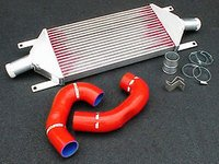 ES#1832569 - FMTT225R - Front Mount Intercooler Kit - Red Hoses - Bolt in performance, fits under stock bumper - Forge - Audi